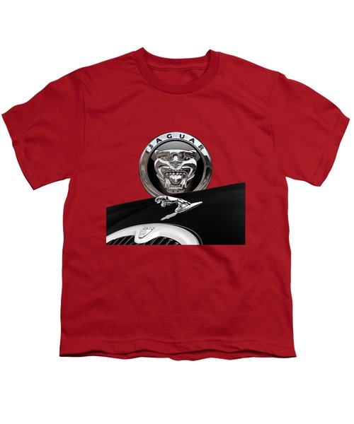 Black Jaguar - Hood Ornaments And 3 D Badge On Red Youth T-Shirt by Serge Averbukh