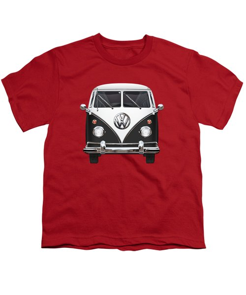 Volkswagen Type 2 - Black And White Volkswagen T 1 Samba Bus On Red  Youth T-Shirt by Serge Averbukh