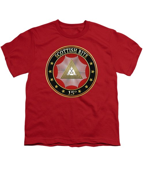 15th Degree - Knight Of The East Jewel On Red Leather Youth T-Shirt by Serge Averbukh