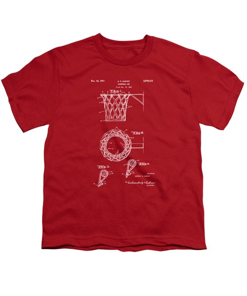 1951 Basketball Net Patent Artwork - Red Youth T-Shirt by Nikki Marie Smith
