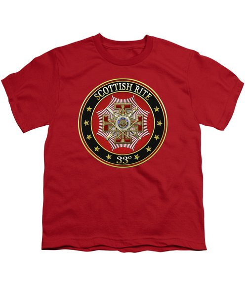 33rd Degree - Inspector General Jewel On Red Leather Youth T-Shirt by Serge Averbukh