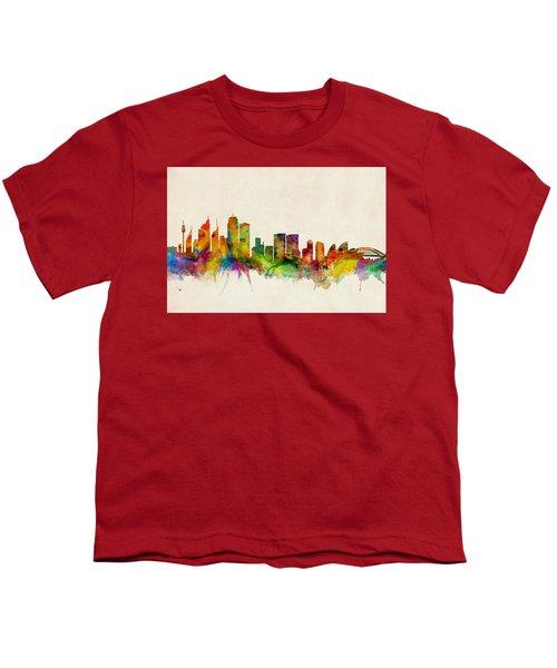 Sydney Australia Skyline Youth T-Shirt by Michael Tompsett