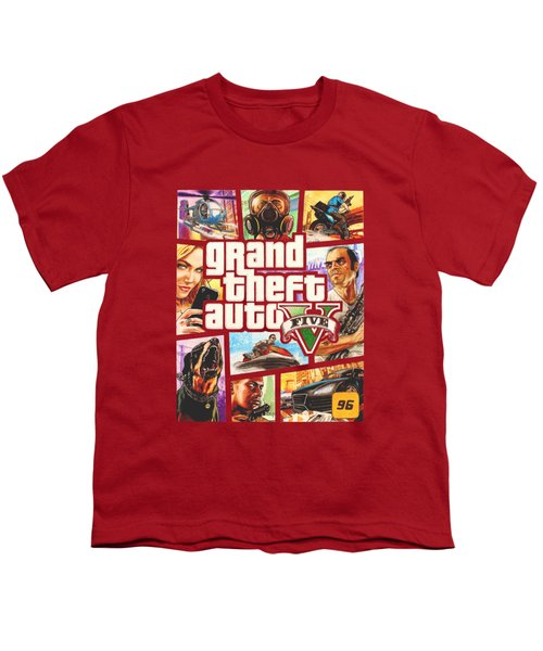 Gta V Box Art Cover Colored Drawing Youth T-Shirt by Nikolai Jonasson