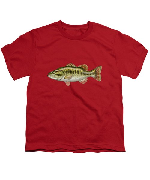 Largemouth Bass On Red Leather Youth T-Shirt by Serge Averbukh