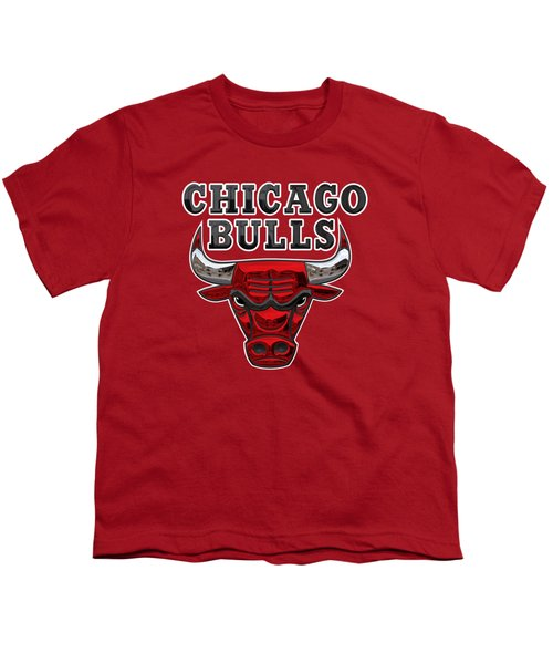 Chicago Bulls - 3 D Badge Over Flag Youth T-Shirt by Serge Averbukh