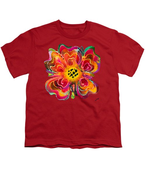 Colorful Flower Art - Summer Love By Sharon Cummings Youth T-Shirt by Sharon Cummings