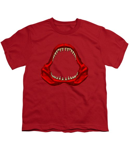 Great White Shark - Red Jaws With Gold Teeth On Red Canvas Youth T-Shirt by Serge Averbukh