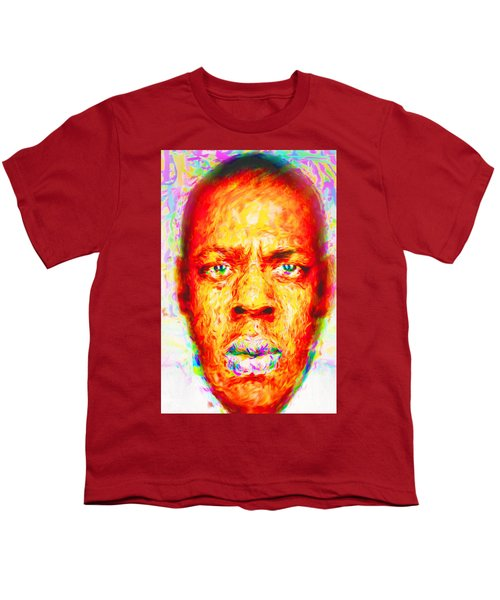 Jay-z Shawn Carter Digitally Painted Youth T-Shirt by David Haskett