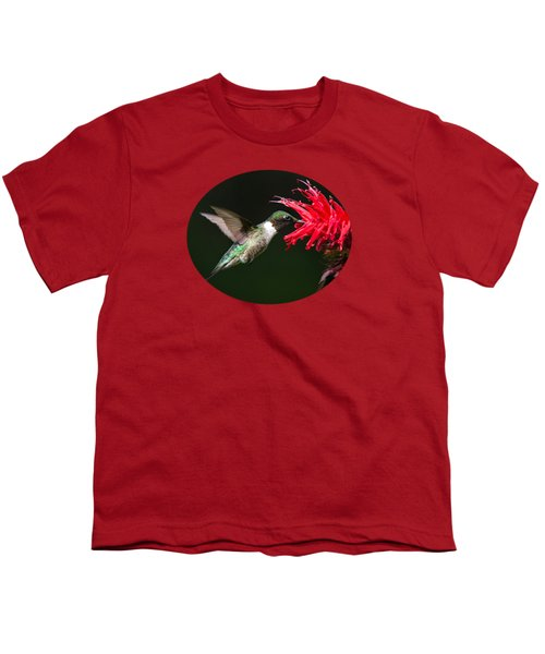 Male Ruby-throated Hummingbird With Red Flower Youth T-Shirt by Christina Rollo