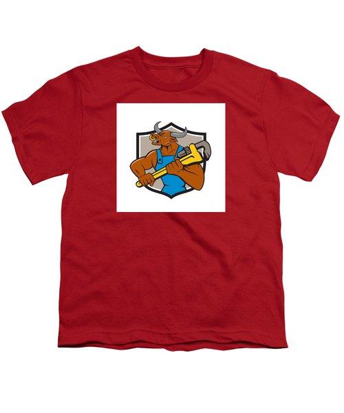Minotaur Bull Plumber Wrench Crest Cartoon Youth T-Shirt by Aloysius Patrimonio