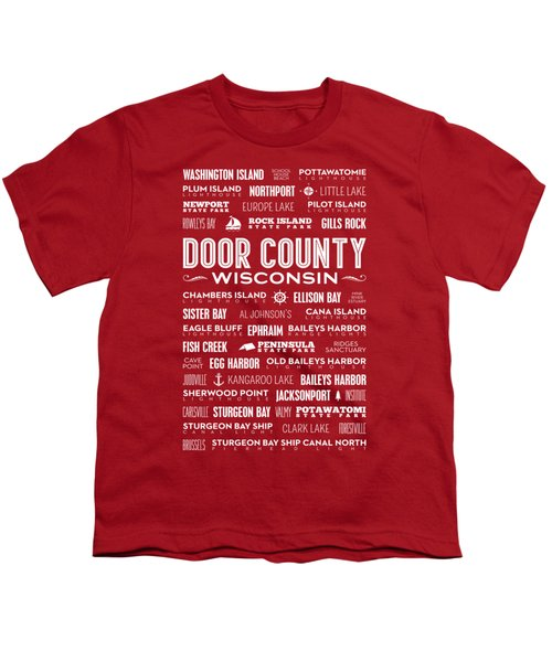 Places Of Door County On Red Youth T-Shirt by Christopher Arndt