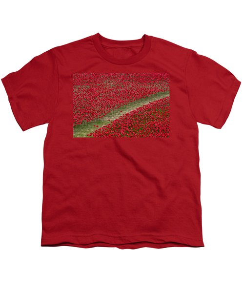 Poppies Of Remembrance Youth T-Shirt by Martin Newman