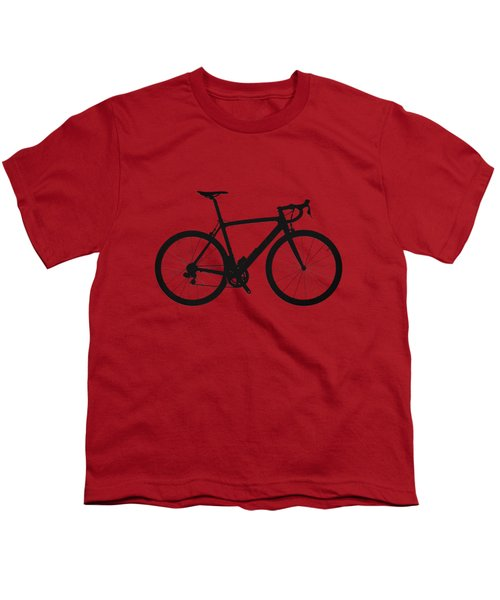Road Bike Silhouette - Black On Red Canvas Youth T-Shirt by Serge Averbukh
