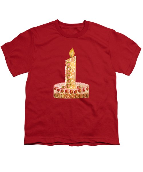 Strawberry Cake For Christmas Youth T-Shirt by Thecla Correya