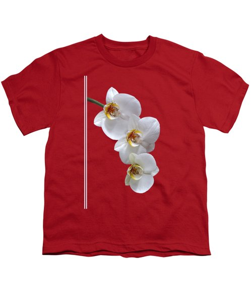White Orchids On Terracotta Vdertical Youth T-Shirt by Gill Billington