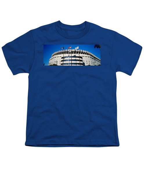 Flags In Front Of A Stadium, Yankee Youth T-Shirt by Panoramic Images