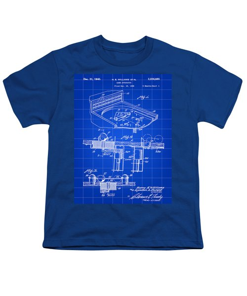 Pinball Machine Patent 1939 - Blue Youth T-Shirt by Stephen Younts