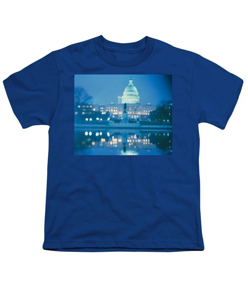 Government Building Lit Up At Night Youth T-Shirt by Panoramic Images