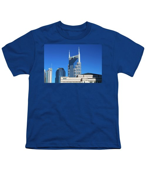 Batman Building And Nashville Skyline Youth T-Shirt by Dan Sproul
