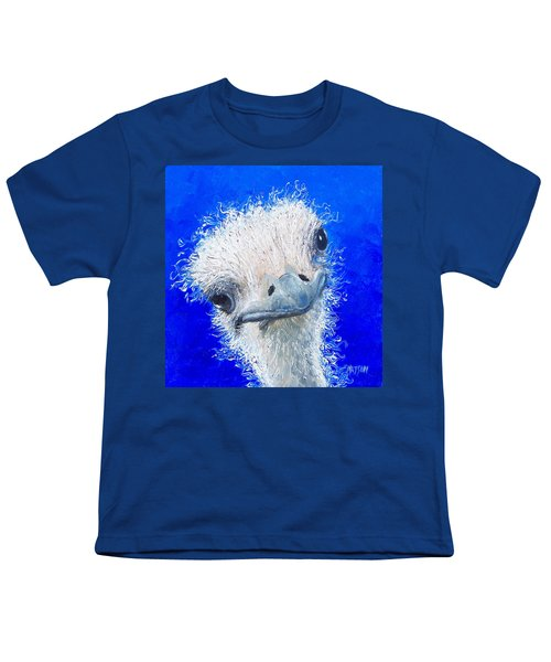 Ostrich Painting 'waldo' By Jan Matson Youth T-Shirt by Jan Matson