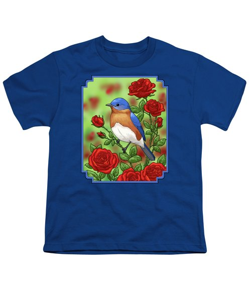 New York State Bluebird And Rose Youth T-Shirt by Crista Forest