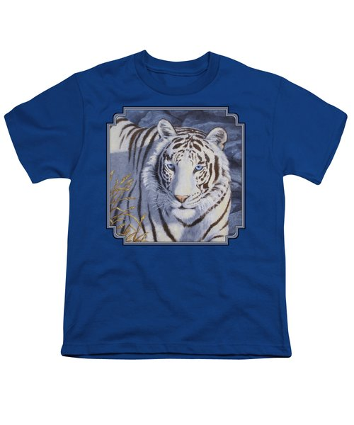 White Tiger - Crystal Eyes Youth T-Shirt by Crista Forest
