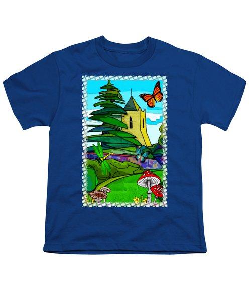 English Garden Whimsical Folk Art Youth T-Shirt by Sharon and Renee Lozen