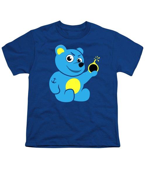 Evil Tattooed Teddy Bear Youth T-Shirt by Boriana Giormova