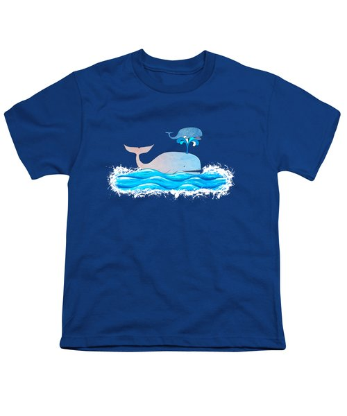 How Whales Have Fun Youth T-Shirt by Shawna Rowe