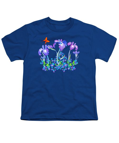 Iris Bouquet With Forget Me Nots Youth T-Shirt by Teresa Ascone