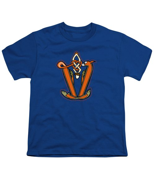 Medieval Squirrel Letter V Youth T-Shirt by Donna Huntriss