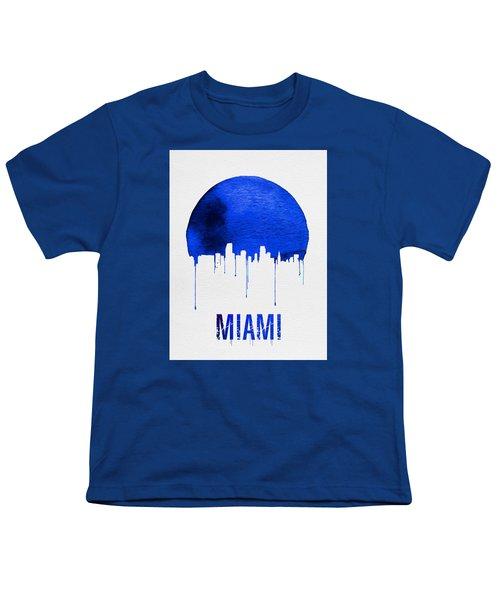 Miami Skyline Blue Youth T-Shirt by Naxart Studio