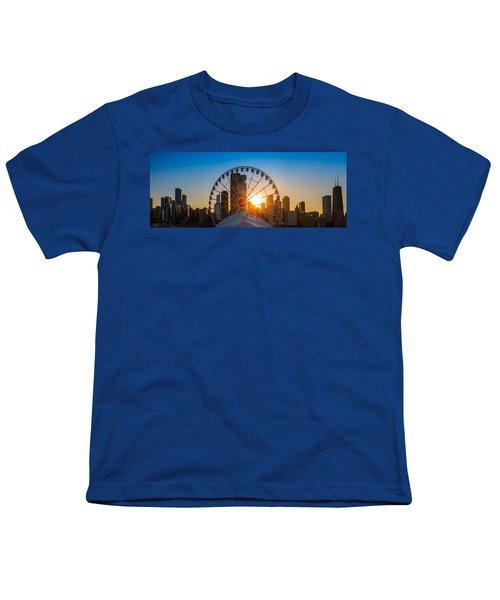 Navy Pier Sundown Chicago Youth T-Shirt by Steve Gadomski
