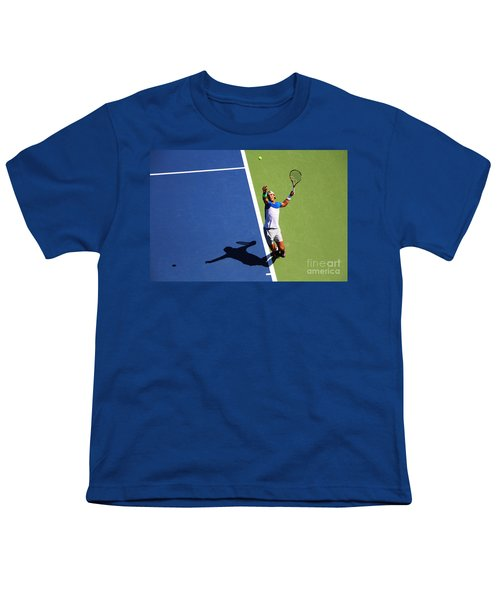 Rafeal Nadal Tennis Serve Youth T-Shirt by Nishanth Gopinathan