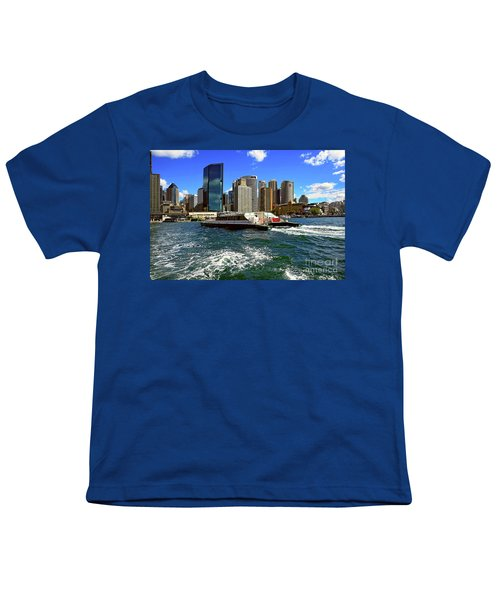 Sydney Skyline From Harbor By Kaye Menner Youth T-Shirt by Kaye Menner