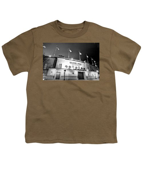 0879 Soldier Field Black And White Youth T-Shirt by Steve Sturgill