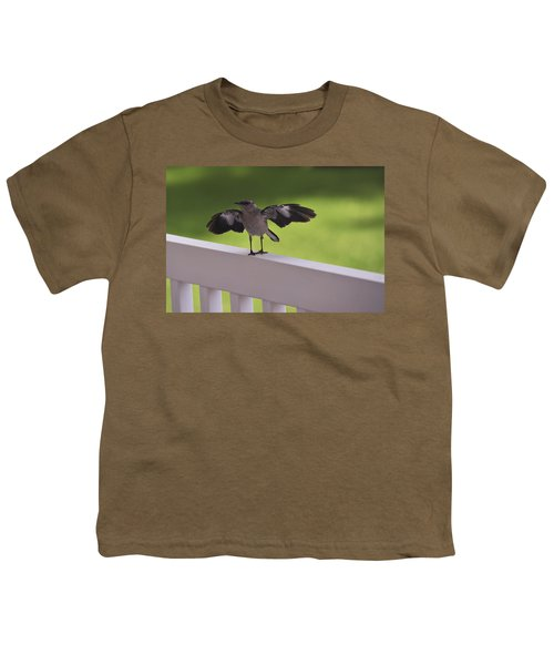 A Little Visitor Northern Mockingbird Youth T-Shirt by Terry DeLuco