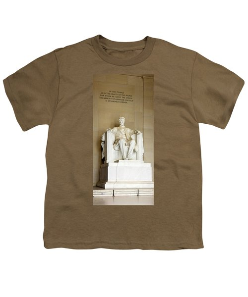 Abraham Lincolns Statue In A Memorial Youth T-Shirt by Panoramic Images