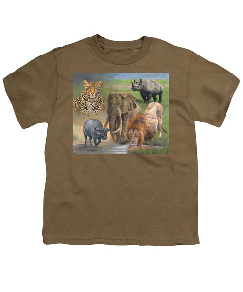 Africa's Big Five Youth T-Shirt by David Stribbling