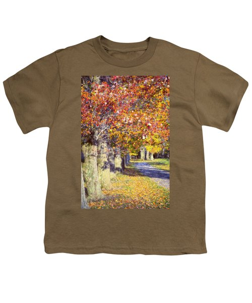 Autumn In Hyde Park Youth T-Shirt by Joan Carroll