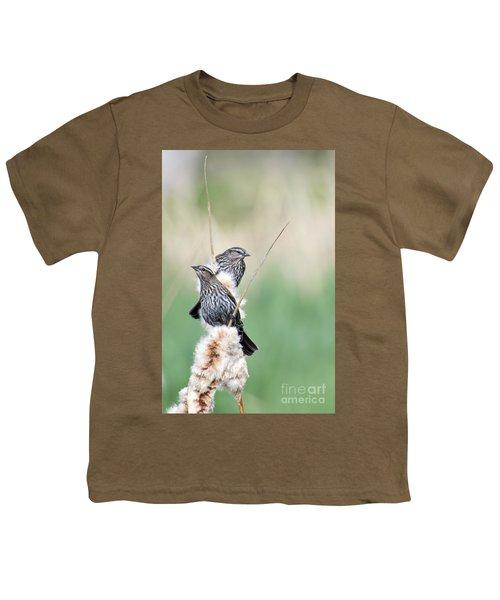 Blackbird Pair Youth T-Shirt by Mike  Dawson