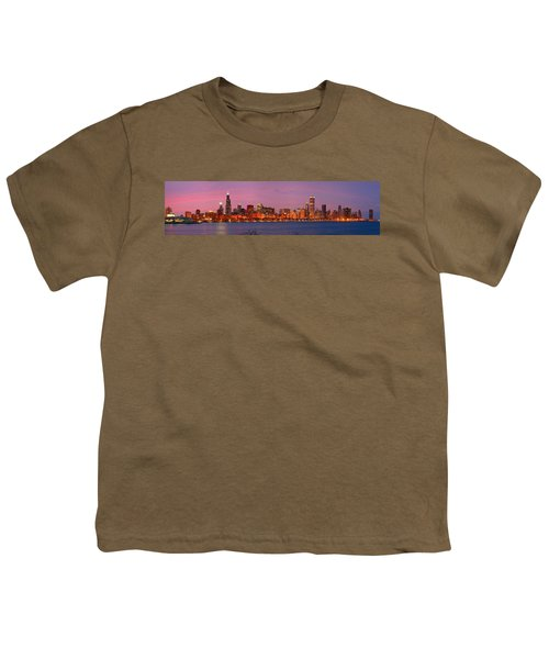 Chicago Skyline At Dusk 2008 Panorama Youth T-Shirt by Jon Holiday