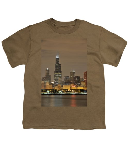 Chicago Skyline At Night Youth T-Shirt by Sebastian Musial