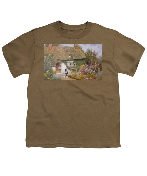 Feeding The Pigeons Youth T-Shirt by Arthur Claude Strachan