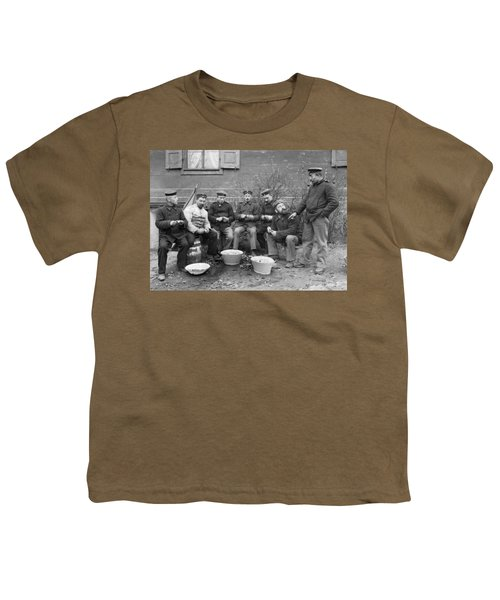 Germans Peeling Potatoes Youth T-Shirt by Underwood Archives