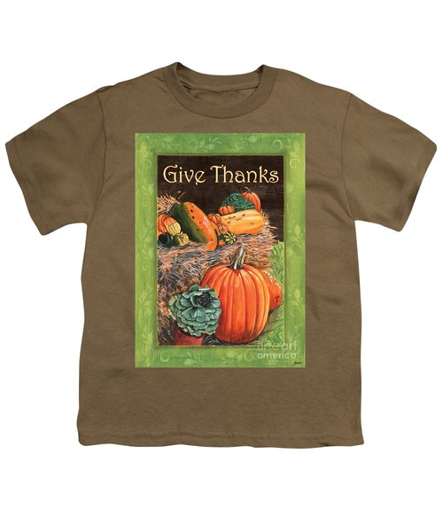 Give Thanks Youth T-Shirt by Debbie DeWitt
