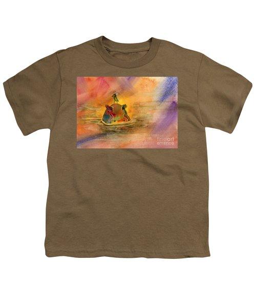 Hippo Birdie Youth T-Shirt by Amy Kirkpatrick