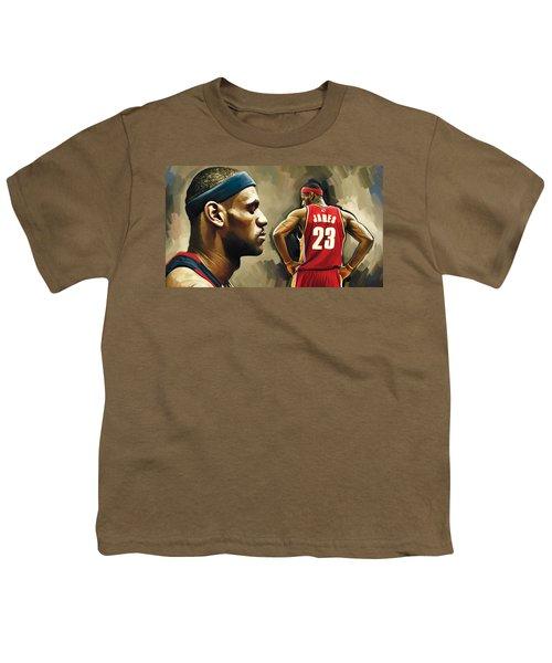 Lebron James Artwork 1 Youth T-Shirt by Sheraz A