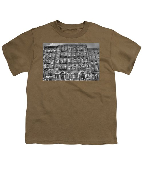 Led Zeppelin Physical Graffiti Building In Black And White Youth T-Shirt by Randy Aveille