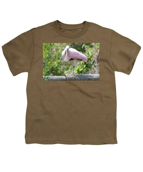 Light Pink Roseate Spoonbill Youth T-Shirt by Carol Groenen